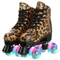 PU Leder Rollschuhe,  PU-Kautschuk, Gedruckt, Leopard, mehr Farben zur Auswahl,  Paar